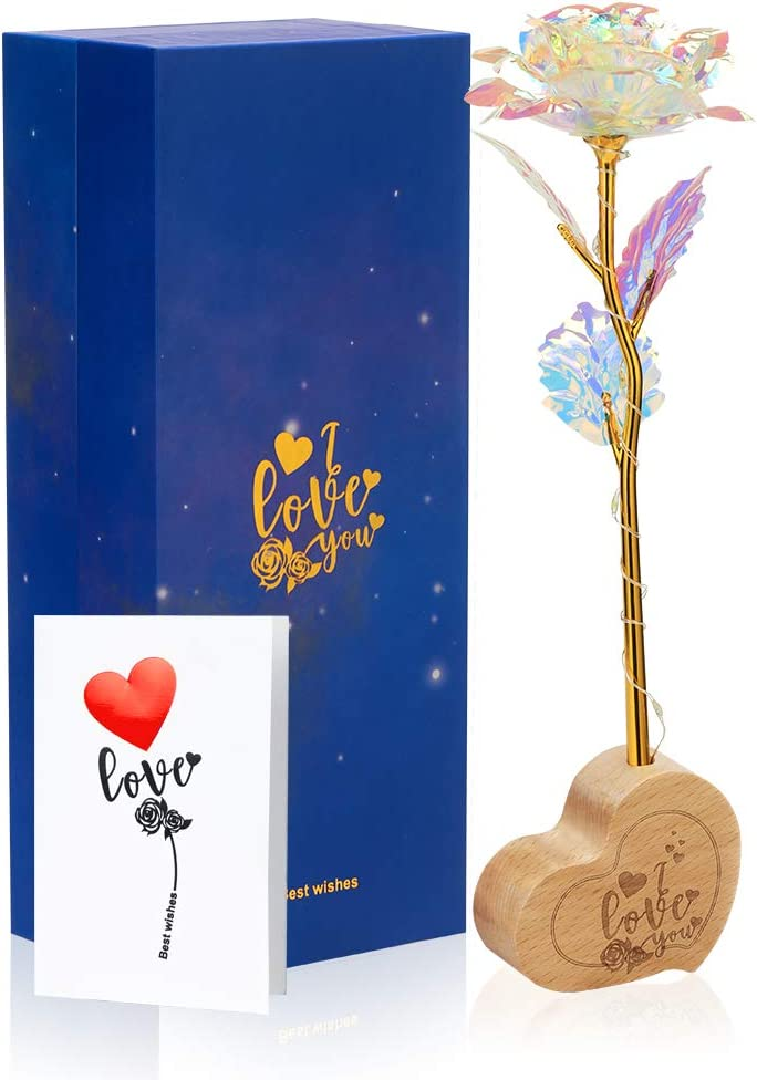 F/ête des M/ères Mariage Anniversaire No/ël Rose Enchant/ée Rose Artificielle Fleurs La Belle et la B/ête Eternelle Rose /Él/égant D/ôme en Verre avec Lumi/ères LED Pine Base pour Saint Valentin