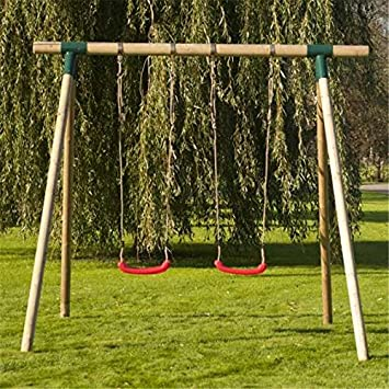 Wooden Double Swing Set The Children S Swing Set Is A Lovely Piece
