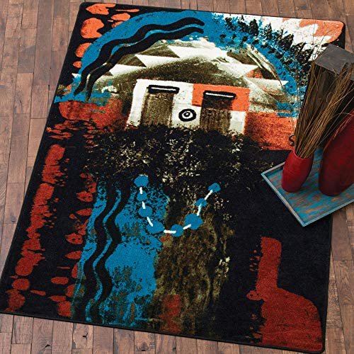 - BLACK FOREST DECOR Santa Fe Boogie Rust Rug - 8 Ft. Round