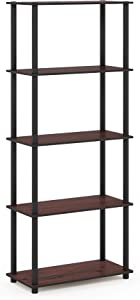Furinno Turn-N-Tube 5-Tier Multipurpose Shelf Display Rack, Single, Dark Cherry/Black
