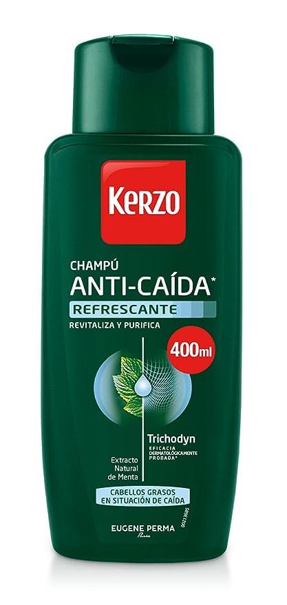 Kerzo Champú Anticaída Refrescante para Cabellos Grasos - 3 Recipientes de 400 ml - Total:
