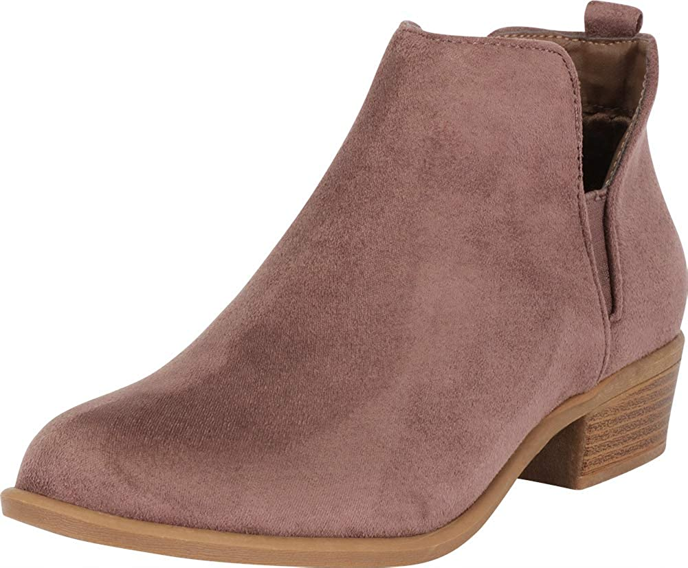 Taupe Imsu Cambridge Select Women's Western Side V Cutout Chelsea Stretch Chunky Stacked Ankle Bootie