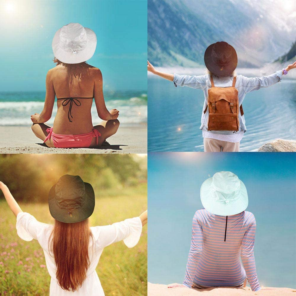 Sun hat Women Bucket Sun Hat Foldable Outdoor Quick-Dry Hat Protect Sun hat//Rain Cap with Chin Strap Quick-Dry Hat