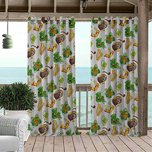 Linhomedecor Patio Waterproof Curtain St. Patricks Day Element Clover Co s Horseshoe Hat Porch Grommet Party Curtains 120 by 72 inch