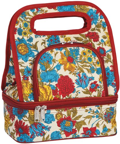 - Fully Insulated Includes Bonus Storage Food Container - Floribunda print April Cornell by Picnic Plus (Savoy Tote)