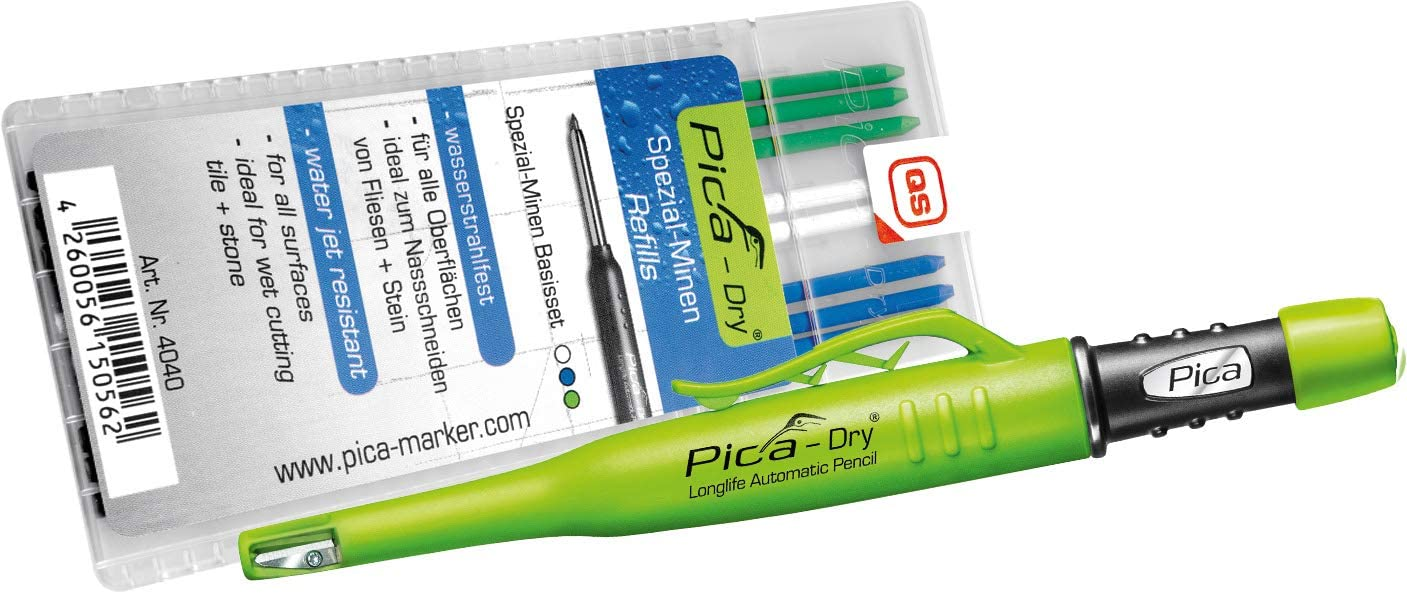 Pica 3030+4040 Dry Pen with Special Lead Base Set Carpenters Pencil Green Blue White