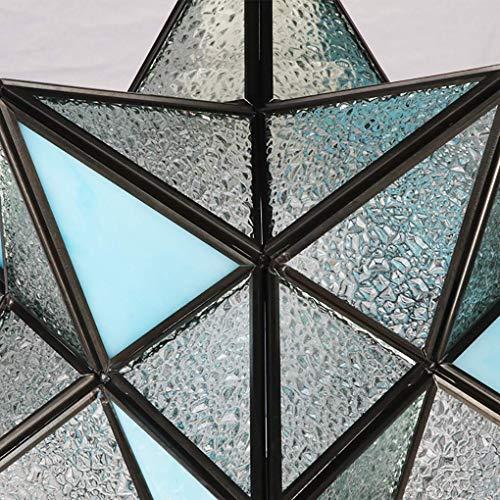 (Ceiling Fan Light Chandelier Lightings Tiffany Style Chandelier 8-Inch Pendant Lamp European Style Creative Five-Pointed Star Pendant Light for Bar Restaurant Living Room E27 -Lampshade: 20Cm, Chuan)
