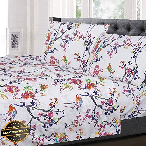otanical Pastel Floral Pattern 4-Piece 1500 Supreme Collection Sheet Set | LINENIENHM-182012190 Queen ()