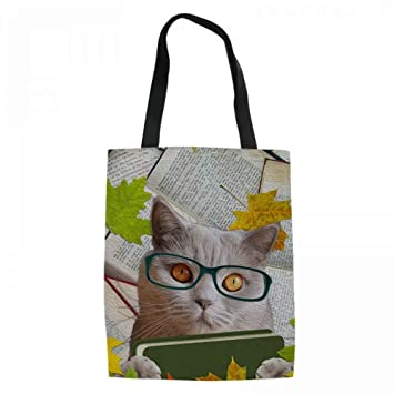 LOLIVEBO 3D Book Cat Dog Pattern Durbale Bolsos De Compras ...