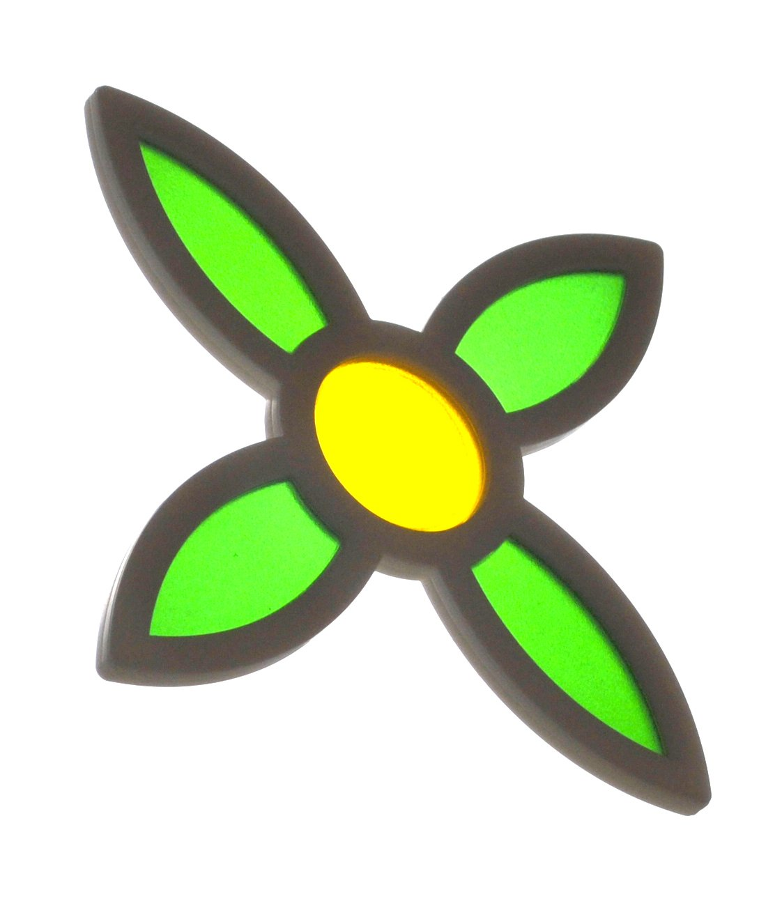 Decapanel 4-leaf window display consisting of a raised 3D black frame with a yellow translucent bud and 4 green translucent leaves. Decapanels Ltd