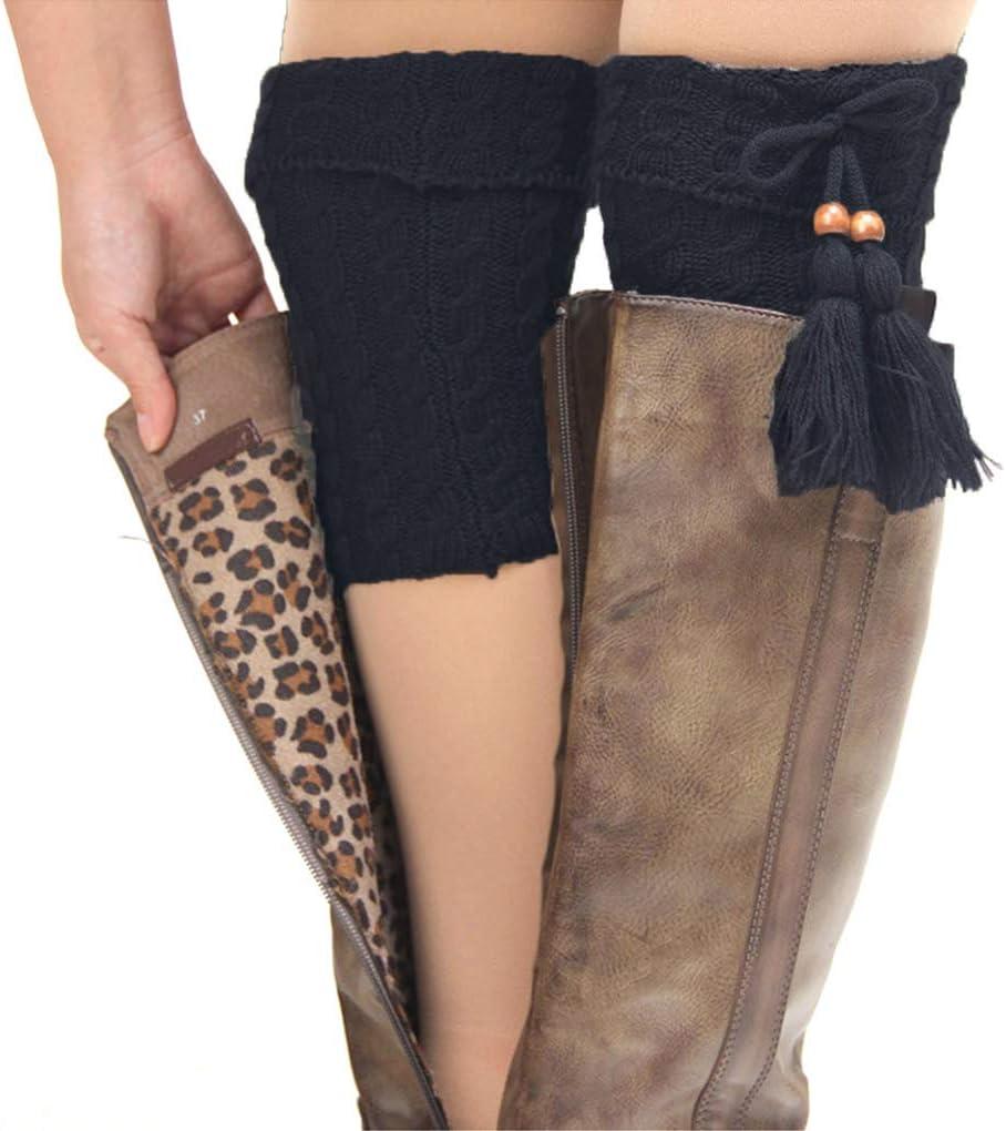 Ropa para Mujer Informal pu/ños de Bota para Mujer Calentadores de piernas de Punto de Felpa de Invierno Calcetines de Adorno para Botas 2 Pares jieGorge Calcetines