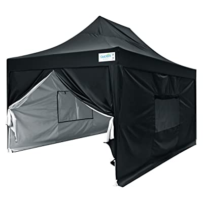 Quictent 10x15 Easy Pop up Canopy Tent Instant Outdoor Canopy Shelter with Sidewalls Waterproof (Black) : Garden & Outdoor