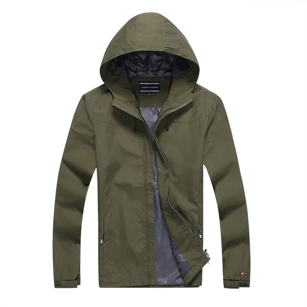 Color : Army Green, Size : S NIAN Sports Jacket Men Spring and Autumn Mens Thin Jacket Casual Hooded Outdoor