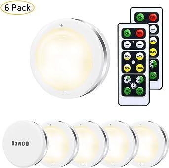 Lampe de Placard Spot LED Murale Coloré Bawoo 6pcs Lampes Armoire Veilleuse Couleur Telecommande Sans Fil pour Escalier Miroir Cuisine Vitrines