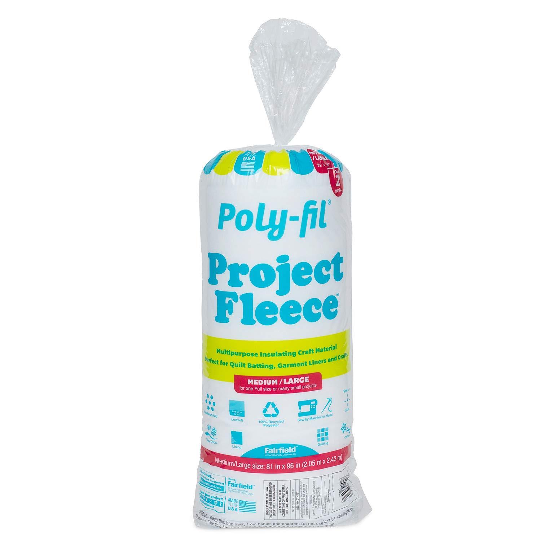 Fairfield Poly-Fil Project Fleece Low-Loft Batting Medium//Large 81 x 96 Multi