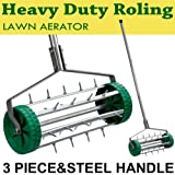 tinkertonk Heavy Duty Rolling Garden Lawn Aerator - 3 Piece Steel Handle