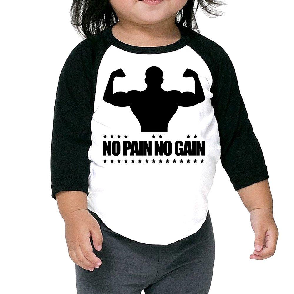 d5fa431878d8 Alipapa Kids Boy's & Girl's Body Building No Pain No Gain F1 3/4 Sleeve  Baseball Tshirt Size 2 Toddler Misc.