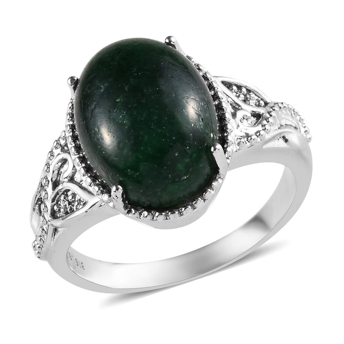 Shop LC Delivering Joy Solitaire Ring Stainless Steel Oval Green Aventurine Jewelry for Women Size 7