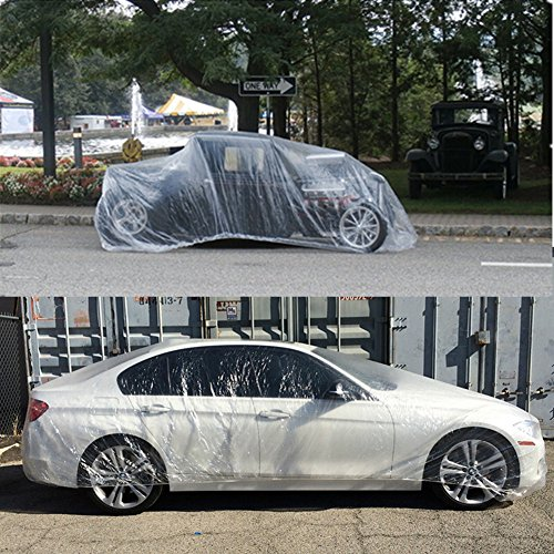 FAMI Transparent Disposable Plastic Car Cover