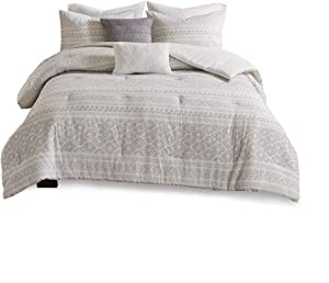Urban Habitat Lizbeth 5 Piece Cotton Clip Jacquard Comforter Set White/Grey King/Cal King
