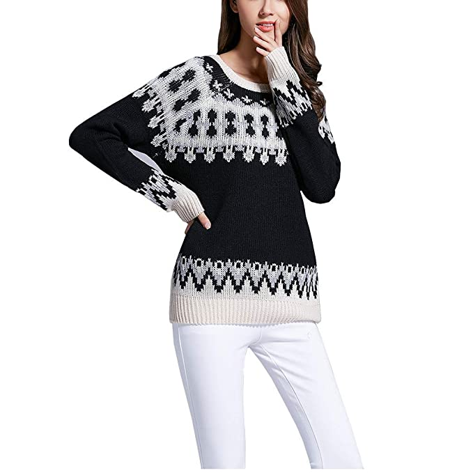 074d5233c299c Superbaby Women s Tribal Pattern Fair Isle Crew Neck Loose Pullover Sweater  (Black) at Amazon Women s Clothing store