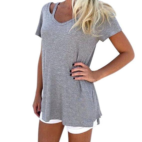 Camiseta de Mujer con Cuello en v,Moda Mujer Verano con Cuello en