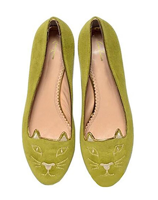 QianZuLian Womens Flats Cat Shape Pumps Round head Slip On Dress Shoes Comfort for Home Leisure On foot B0757XP2PX 13 B(M) US|Green