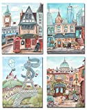 Travel Theme Nursery Set Of 4 Canvas Art Prints - All 4 Personalized With Boy Or Girl's Name
