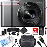 Panasonic ZS100 LUMIX 4K 20 MP Digital Camera w/ Wi-Fi Silver (DMC-ZS100S) 64GB Card Bundle includes Camera, Memory Card, Wallet, Battery, Bag, HDMI Cable, Cleaning Kit, Beach Camera Cloth and More