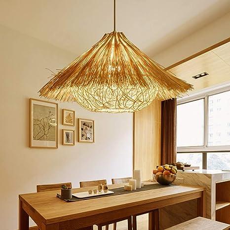MUMUMI Lámpara de bambú Lámpara de Mimbre Ratán Tejido ...