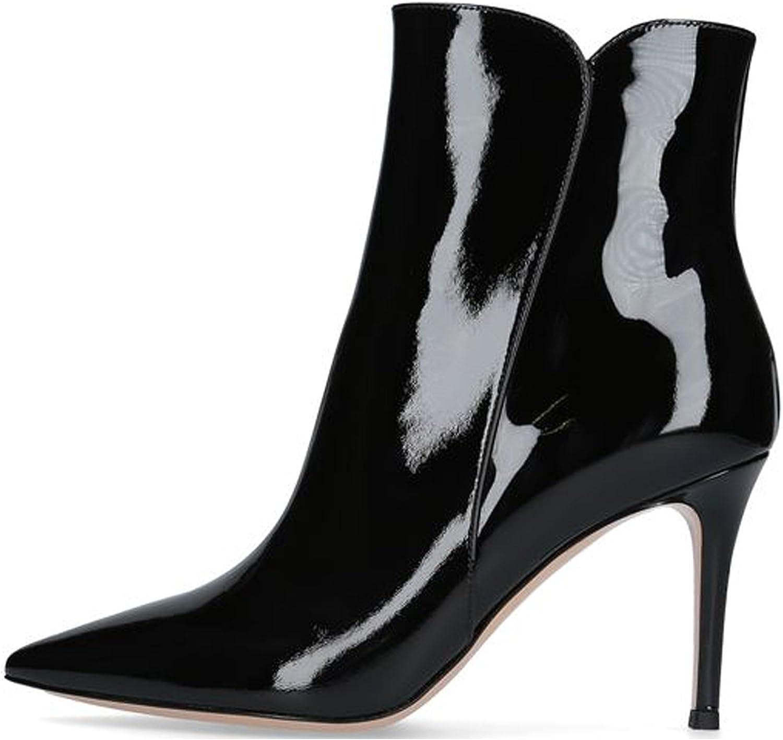 Soireelady Stivali Donna con Tacco,Tacco a Spillo 8 CM,alla Caviglia Stivaletti da Donna Patent Black