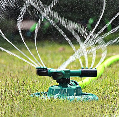 Buyplus Lawn Sprinkler - Automatic 360 Rotating Adjustable Garden Hose Watering Sprinkler for Kids, with 3600 SQ FT Coverage Lawn Irrigation System/Leak Free Durable 3 Arm Sprayers (1 pack)