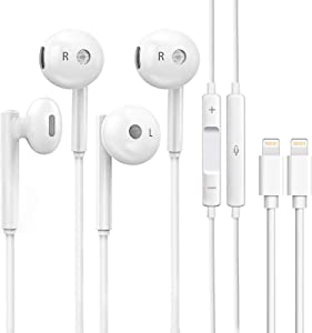 iPhone Earbuds, Wired Earphones,2Pack Headphones,Stereo Noise Cancelling Isolating in Ear Headset with Built-in Microphone&Volume Control Compatible with iPhone 12 11 Pro Max Mini Plus SE X XS XR 8 7