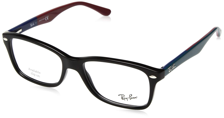 Ray-Ban 0rx5228 No Polarization Square Prescription Eyewear Frame, Black, 55 mm