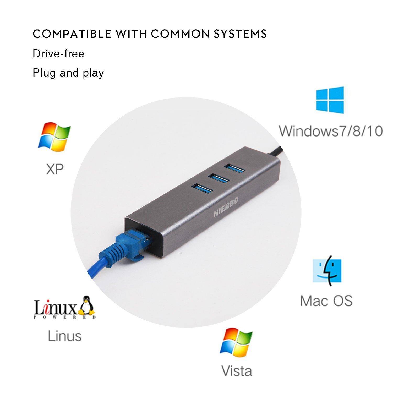 Hub USB 3.0 Ethernet Adaptador 100/1000 Gigabit, NIERBO USB 3.0 a Ethernet RJ45 Adaptador Tarjeta de Red Externa 1000Mbps Ethernet Tarjeta Red LAN RJ45 con 3 USB 3.0 Puertos 5Gbps Nintendo Switch,Adaptador USB C para Mac, Chromebook, Window