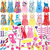 JANYUN Total 114pcs - 16 Pack Clothes Party Gown Outfits for Barbie Dolls+ 98pcs Dolls Accessories Shoes Bags Necklace Mirror Hanger Tableware
