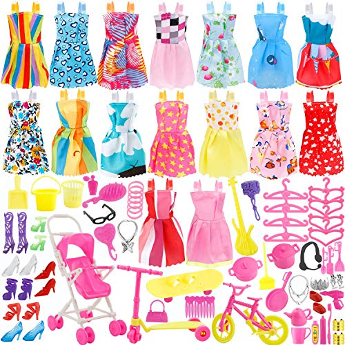 JANYUN Total 114pcs - 16 Pack Clothes Party Gown Outfits for Barbie Dolls+ 98pcs Dolls Accessories Shoes Bags Necklace Mirror Hanger Tableware]()