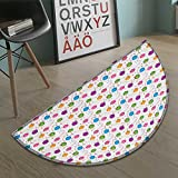 Birthday Bath Mat non slip Vibrant Colored Flying Balloons with Stars and Confetti Pattern for Fun Event Customize door mats for home Mat Multicolor size:35.5''x23.7''