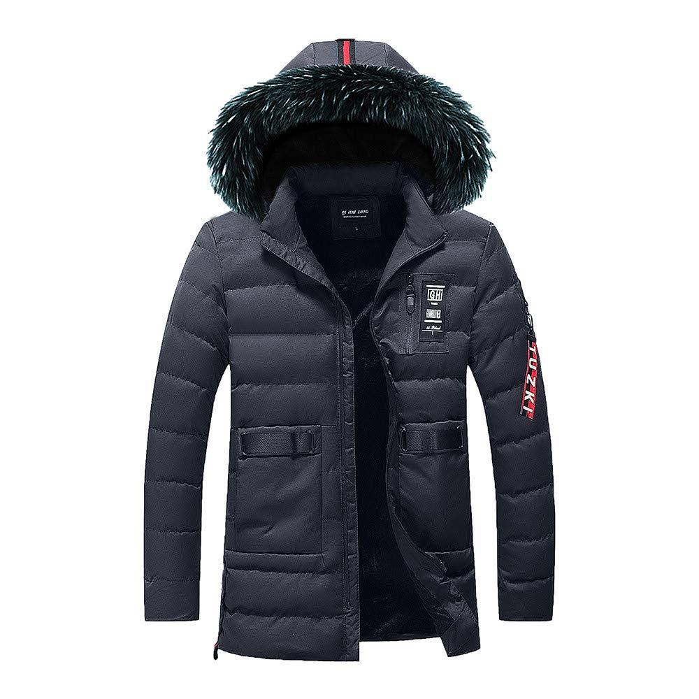 Mens Down Coats,Winter Removable Faux Fur Hooded Down Jacket Lined Puffer Jacket Outerwear Zulmaliu (Dark Blue,L)