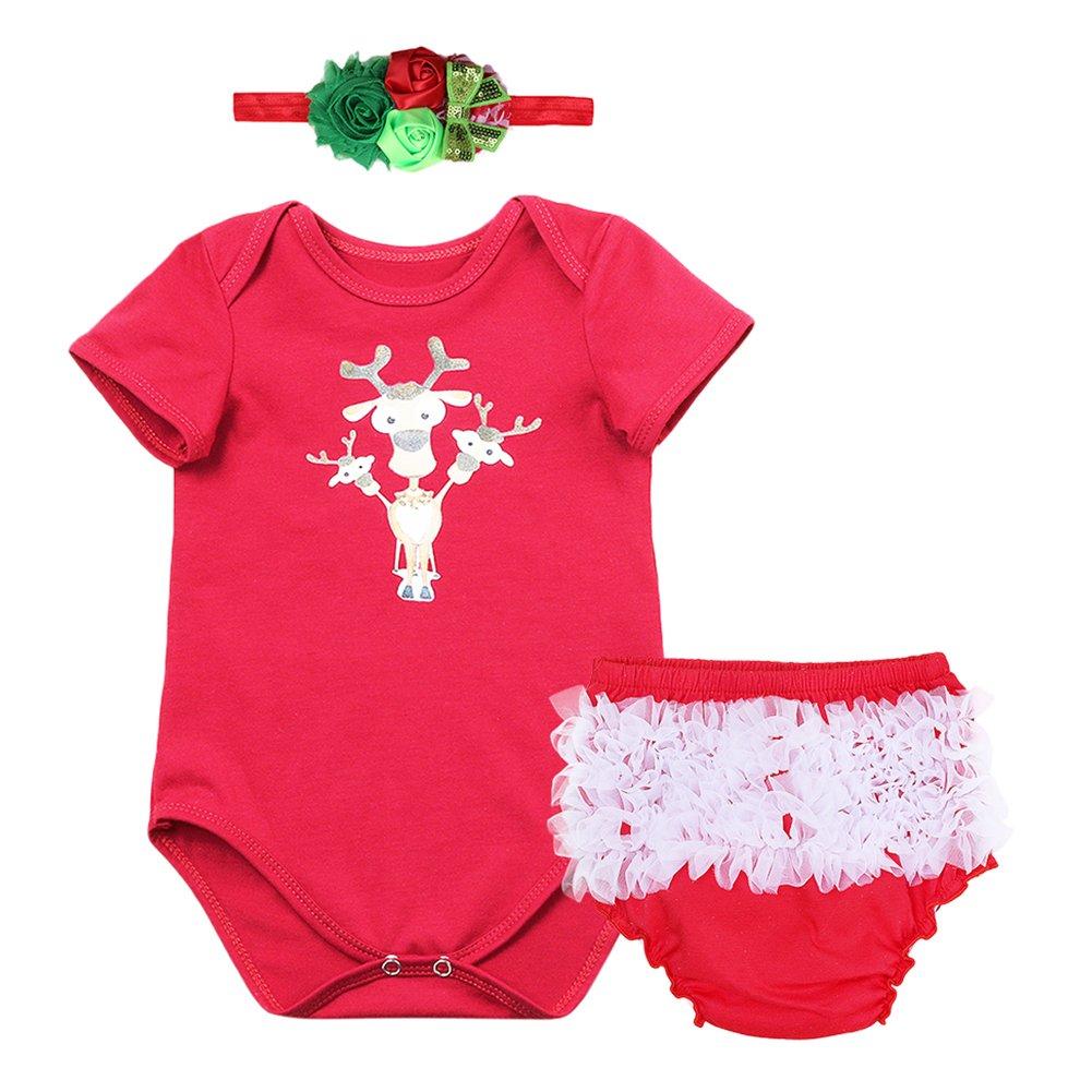 cefa0476085d Amazon.com  Baby Girls My 1st Christmas Santa Deer Costume Outfits Xmas  Newborn Romper Bodysuit Tutu Ruffle Pants Headband Set  Clothing