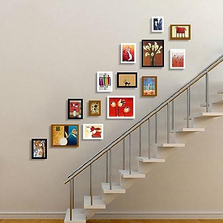 INTER FAST Escaleras foto pared pared colgante porche corredor foto pared madera maciza marco foto pared pared pequeña combinación creativa pared pequeña europea calidad de madera sólida adecuada para: Amazon.es: Hogar