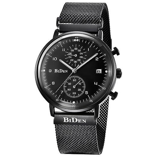 Hombres Relojes, Biden marca moda hombres de negocios con malla banda de acero impermeable cuarzo