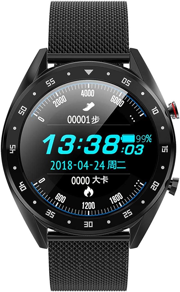 Smart Watch wireless IP68 Impermeabile Uomo Display HD Tracker fitness Braccialetto intelligente per la pressione sanguigna della frequenza cardiaca Black Steel Strap