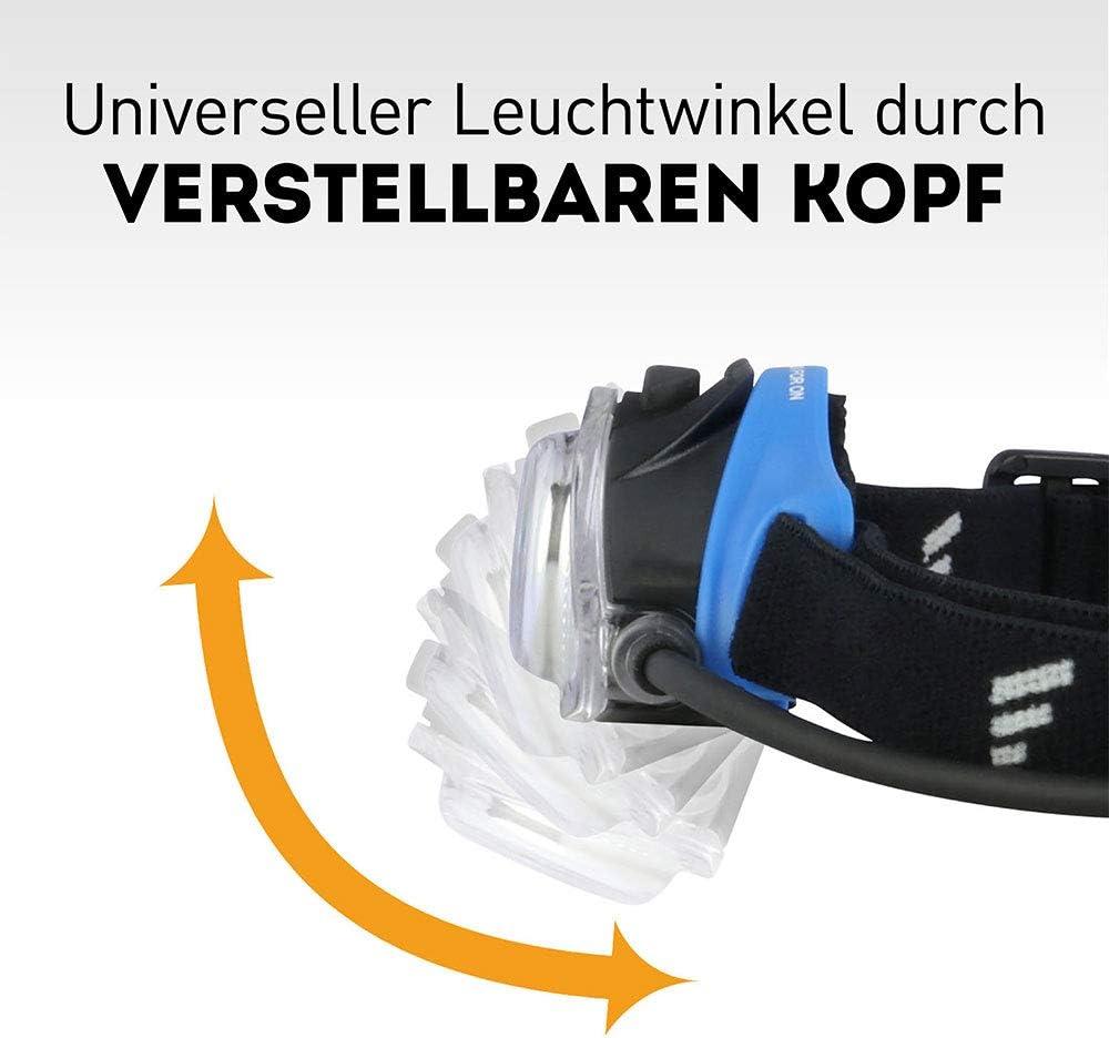 inkl rotes R/ücklicht Verstellbarer Leuchtkopf etc leicht /& kompakt ideal f/ür Joggen Batterie Rotlicht f/ür Nachtsicht Klettern Favour Outdoor /& Sport Stirnlampe LED Kopflampe IPX4 wasserdicht