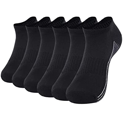 Men's Moisture Wicking Bamboo Socks Black,Sunew Unisex Cozy Bamboo Fiber Tennis Golf Running Socks Super Soft Snug Cushion Breathable and Durable Anti Slip No Show Low Cut Casual Socks, 6 Pairs XL: Clothing