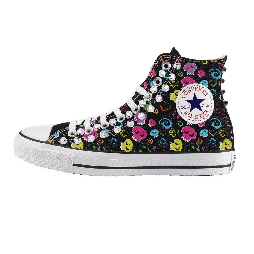 Converse Personalizzate con BORCHIE SILVER All Star Alta NERA - scarpe artigianali - stampa SKULL TESCHI