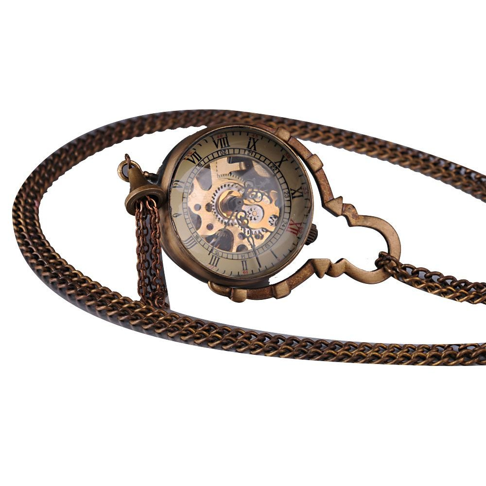 AMPM24 Mens Brass Ball Glass Ring Skeleton Mechanical Pocket Watch Chain WK892 by AMPM24