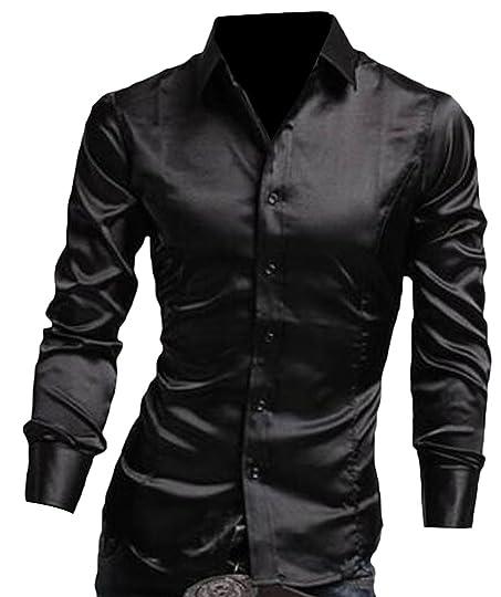 Yayu Men Buttoned Long Sleeve Shiny Dress Shirts Work Shirt at ...