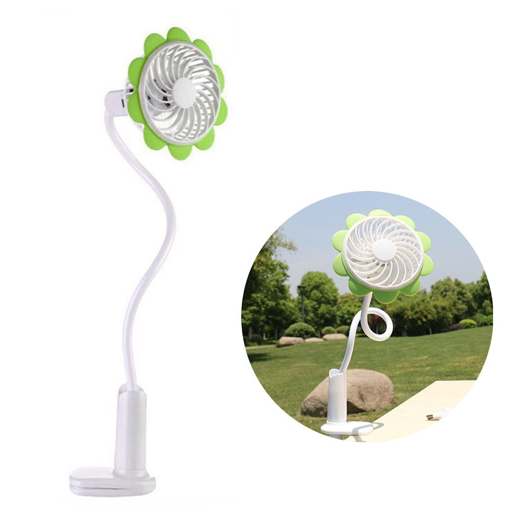 TechCode Mini USB Fan, Fashion Portable Micro USB Fan With Bendable Clip Adjustable Sunflower Shape Rechargeable Cooling Mini Clip Fan For Home Office Travel (Green)