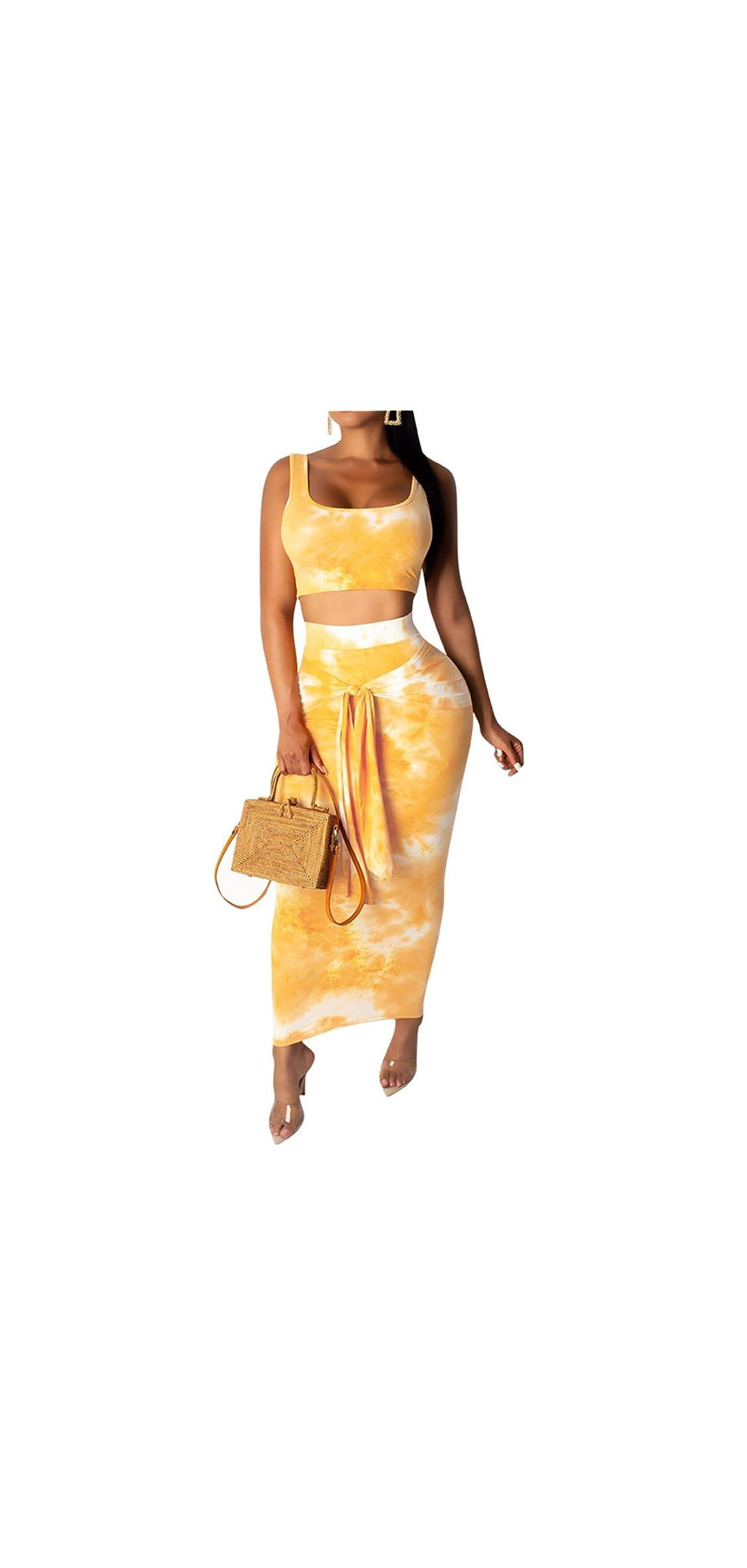 Womens Sexy  Piece Midi Dress Outfits - Sleeveless Tie Dye Tank
